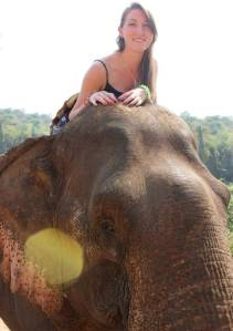 Riding my elephant in Luang Prabang, Laos