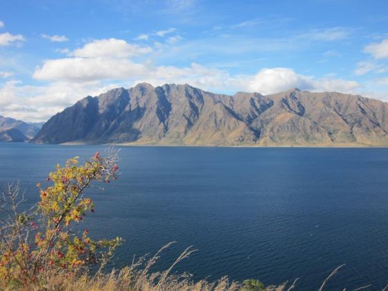 Sparkling deep blue waters of Lake Wanaka, New Zealand